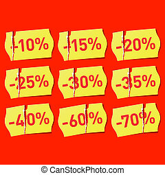 Torn price tags with discounts