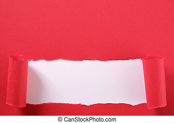 Torn red paper strip curled edge revealing white background