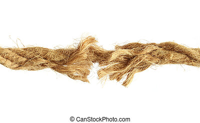Torn rope over white background