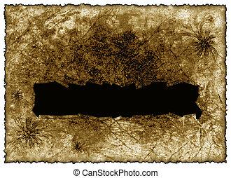 torn rough antique parchment paper texture background with copy space