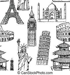 torn, skiss, mahal, kinesisk, coliseum, årgång, eiffel, pisa...