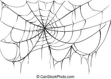 Torn spider web on white background. Vector illustration