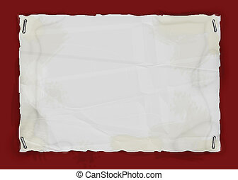 Torn Stapled Paper - Torn stained paper stapled to red...