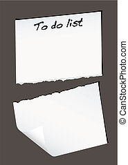 Single piece of white paper torn in half with to do list