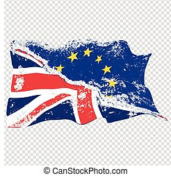 Torn UK and EU flags - Two torn waving EU and UK flags....