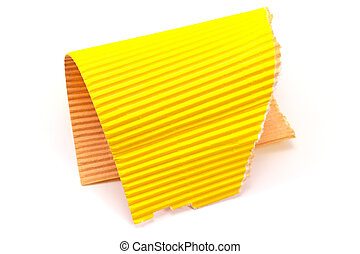 Torn yellow corrugated cardboard isolated on white