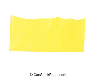 Torn yellow paper banner isolated on white.