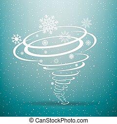 tornade, bleu, hiver, fond, neige