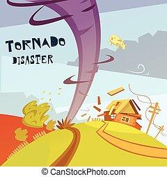 tornade, désastre, illustration