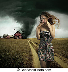 tornade, détruire, femme, maison