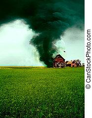 tornade, détruire, maison