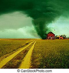tornade, maison, frapper