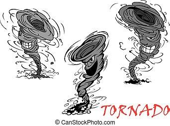 tornade, ouragan, gris, orage, méchant, dessin animé