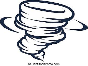 tornade, ouragan, twister, cyclone, icône