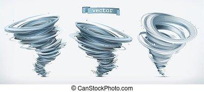 tornado., ベクトル, セット, 3d, アイコン