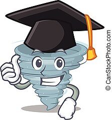Happy face of tornado in black graduation hat for the ceremony. Vector illustration