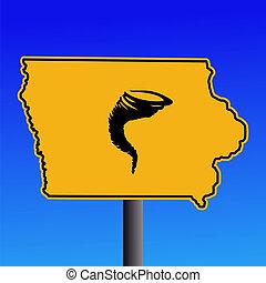 tornado, advertencia, iowa, señal