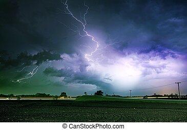 Tornado Alley Severe Storm at Night Time. Severe Lightnings...