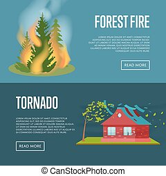 Tornado and forest fire banners.