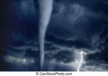 Nature force background - huge tornado, bright lightning in dark stormy sky