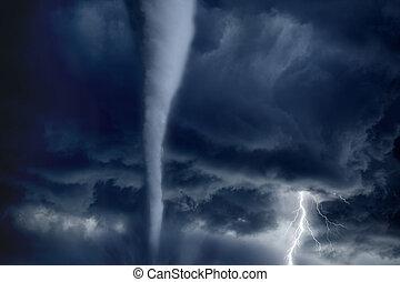 Tornado and lightning - Nature force background - huge...