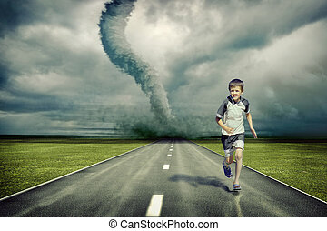 large tornado over the road and running boy ( photo and hand-drawing elements combined)