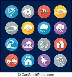 tornado, appartamento, cerchio, disegno, icone