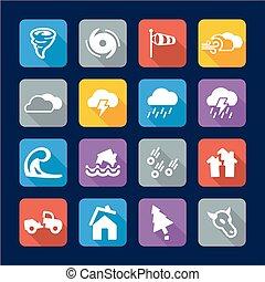 tornado, appartamento, disegno, icone