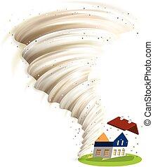 tornado, casa, danni