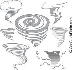 Tornado Collection - Clip art collection of various tornado...