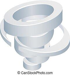Tornado Cyclone Hurricane Twister 3d Icon - A 3d isometric...