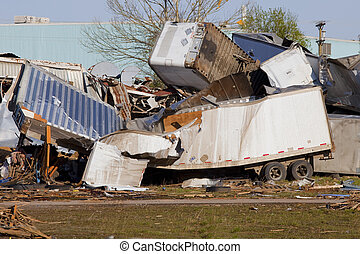 Tornado Damage - Powerful storms rolling through area,...
