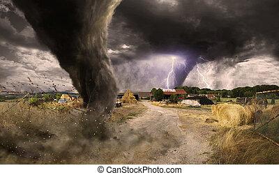 tornado, desastre, grande