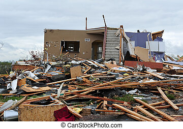 tornado destruction - House leveled by a tornado