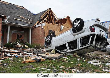 tornado destruction - House leveled by a tornado