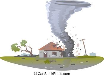 tornado, destruye, casa, aislado