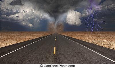 tornado, embudo, en, desierto, camino, paisaje