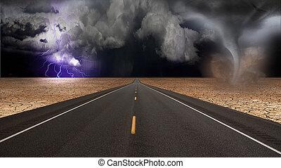 tornado, embudo, paisaje, desierto, camino