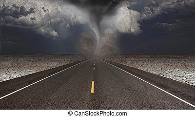 tornado, funil, em, deserto, estrada, paisagem