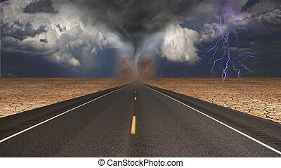 Tornado funnel in desert road landscape