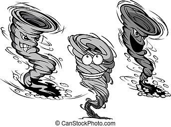 tornado, furioso, huracán, caricatura, caracteres