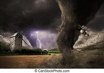 tornado, grande, desastre, celeiro