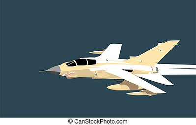 Tornado. Graphic drawing of a modern jet fighter in flight. Vector image for illustration.
