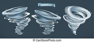 Tornado. Hurricane on a dark background. 3d vector icon set