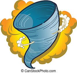 Tornado Hurricane Spout - Cartoon Graphic of a Tornado,...