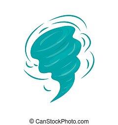 Tornado icon in cartoon style