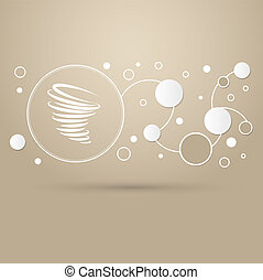 Tornado icon on a brown background with elegant style and modern design infographic.