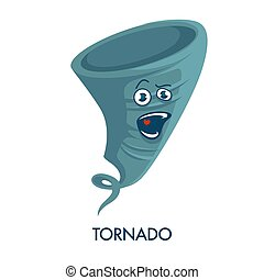 Tornado icon with crazy face and open mouth