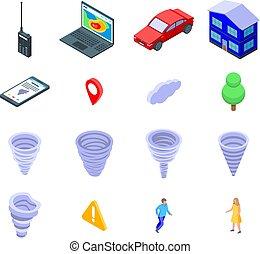 tornado, icone, stile, set, isometrico
