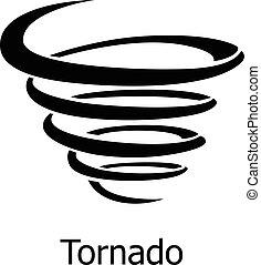 tornado, icono, estilo, simple
